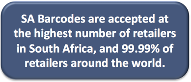 SA Barcodes are accepted at the highest number of retailers in South Africa, and 99.99% of retailers around the world