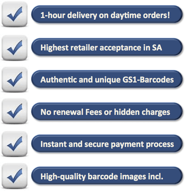 1-hour delivery on daytime orders, Highest Retailer Acceptance in SA, Authentic and unique GS1-Barcodes, No renewal Fees or hidden charges, Instant and secure payment process, High-quality barcode images included